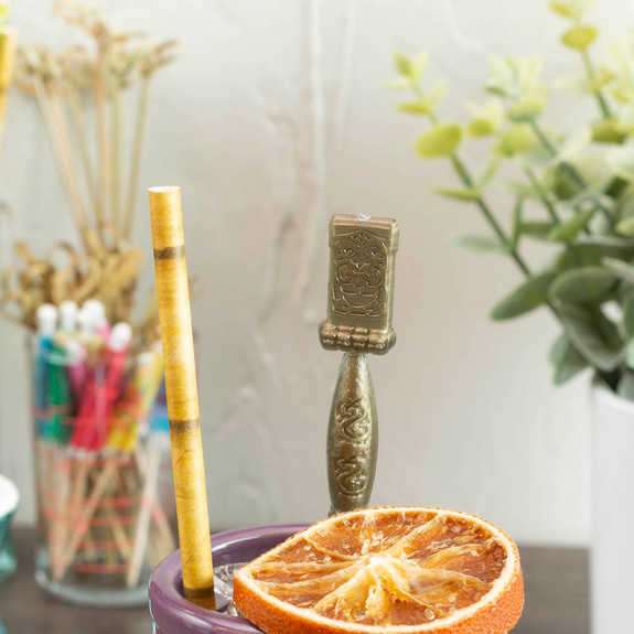 """Tiki Swizzle Stir Sticks - Gold Plastic - 6""""L - Pack of 50"""