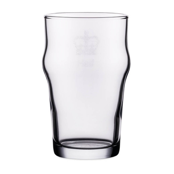 Authentic British Imperial Half Pint Nonic Beer Glass with Etched Crown Seal - 10 oz