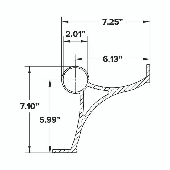 Combination Foot Rail Bracket - Gunmetal Grey - 2-inch OD