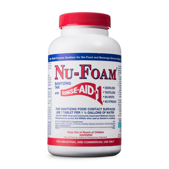 Nu-Foam Sanitizing Tablets with Rinse Aid
