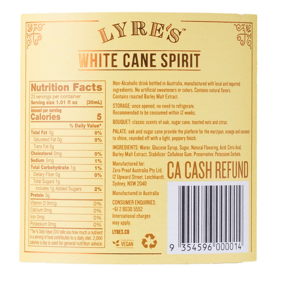 Lyre's White Cane Non-Alcoholic Spirits - Nutritional Facts