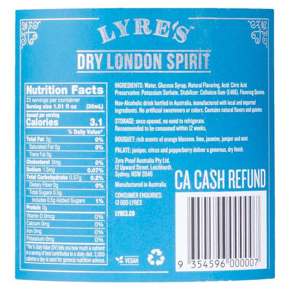 Lyre's Dry London Non-Alcoholic Spirits - Gin Alternative - Nutritional Info