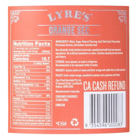 Lyre's Orange Sec Non-Alcoholic Spirits - Nutritional Facts