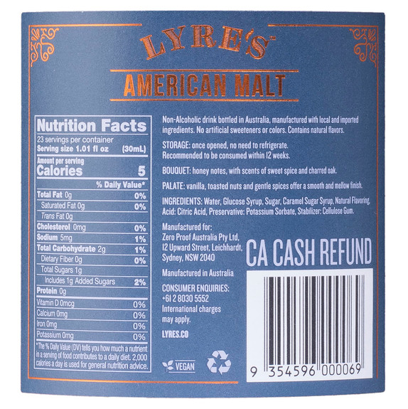 Lyre's American Malt Non-Alcoholic Spirits - Nutritional Facts