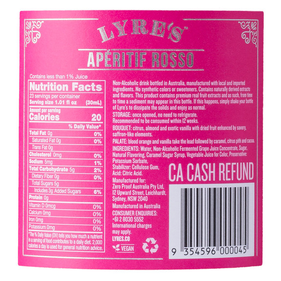 Lyre's Aperitif Rosso Non-Alcoholic Spirits - Nutritional Facts