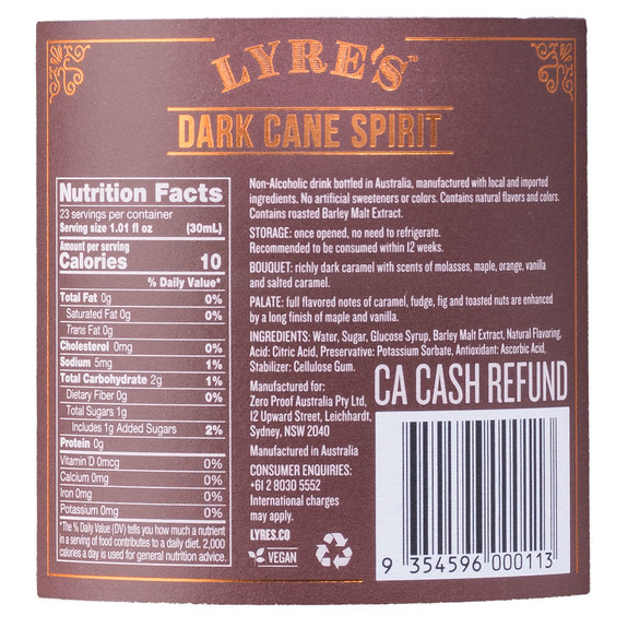 Lyre's Dark Cane Non-Alcoholic Spirits - Nutritional Facts