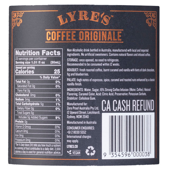 Lyre's Coffee Originale Non-Alcoholic Spirits - Nutritional Facts