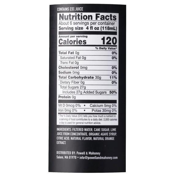 Powell & Mahoney Margarita Mixer - Nutritional Facts