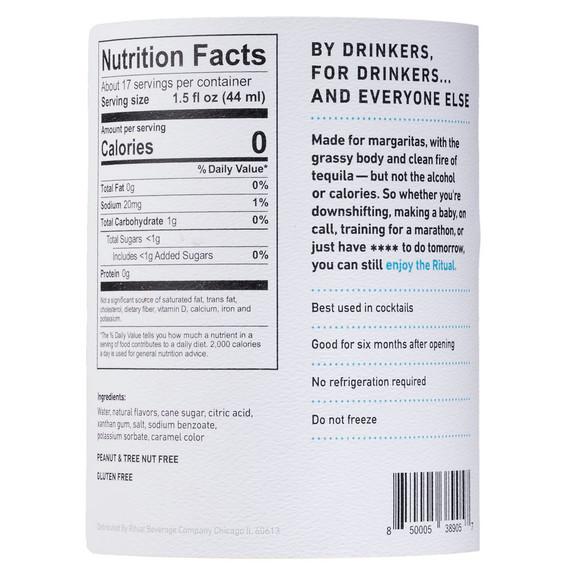 Ritual Non-Alcoholic Tequila Alternative - Nutritional Facts