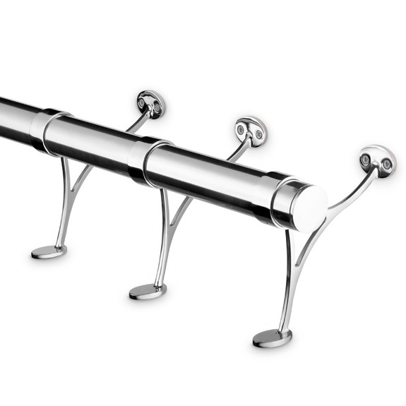 Polished Stainless Steel Bar Foot Rail Kit