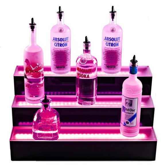 3 Tier LED Lighted Liquor Bottle Display Shelf Pink