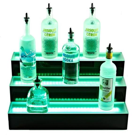 3 Tier LED Lighted Liquor Bottle Display Shelf Green