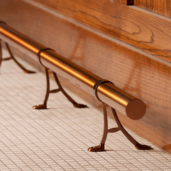 """Bar Foot Rail Tubing with Floor Mount Brackets - Sunset Copper - 2"""" OD"""