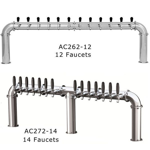 Stainless Steel Arcadia Draft Towers - Glycol Cooled - 12 and 14 Faucets