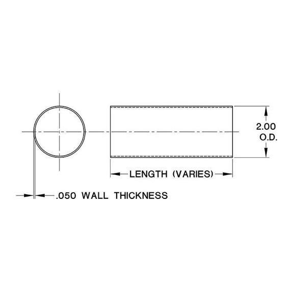 "Polished Brass Bar Rail Tubing - 2"" Outside Diameter"
