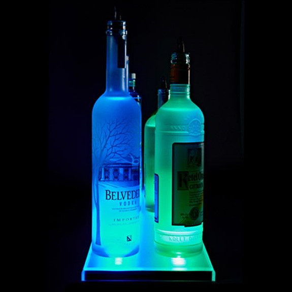 Double Wide LED Lighted Liquor Bottle Display Rail Side View