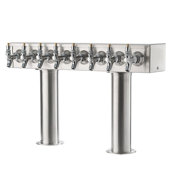 """Double Pedestal Draft Beer Tower - Stainless Steel - 3"""" Column - Glycol Cooled - 6 to 12 Faucets"""