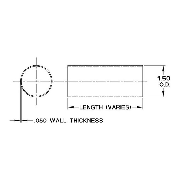"""Hand / Bar Rail Tubing - Brushed Stainless Steel - 1.5"""" OD"""