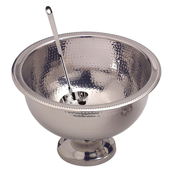 Hammered Stainless Steel Punch Bowl - 13 Quart