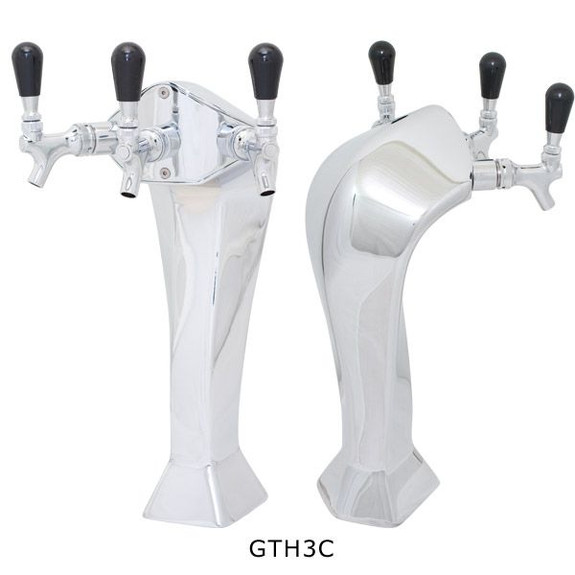 Chrome Gothic Draft Towers - Glycol Cooled - 3 Taps
