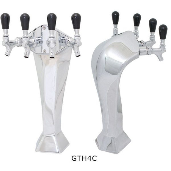 Chrome Gothic Draft Towers - Glycol Cooled - 4 Taps