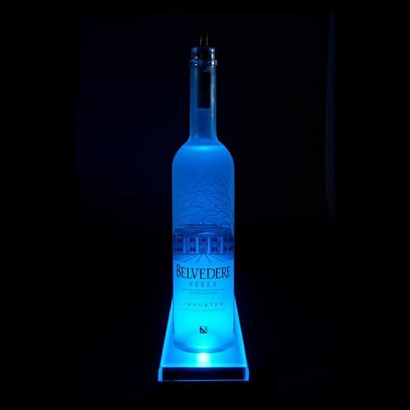 LED Lighted Liquor Bottle Display Rail Side View