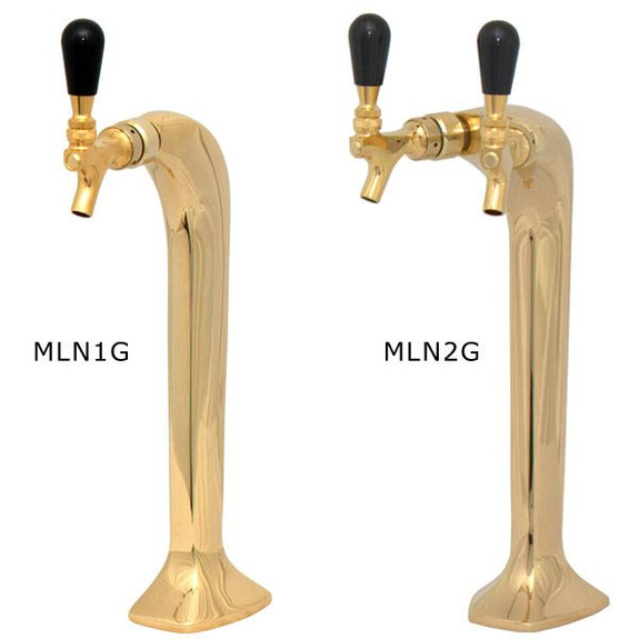 Gold Milano Draft Towers - Glycol Cooled - 1 and 2 Taps