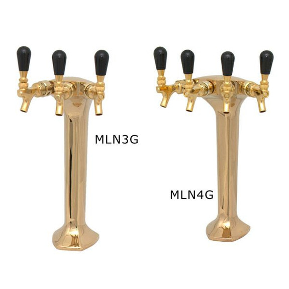 Gold Milano Draft Towers - Glycol Cooled - 3 and 4 Taps