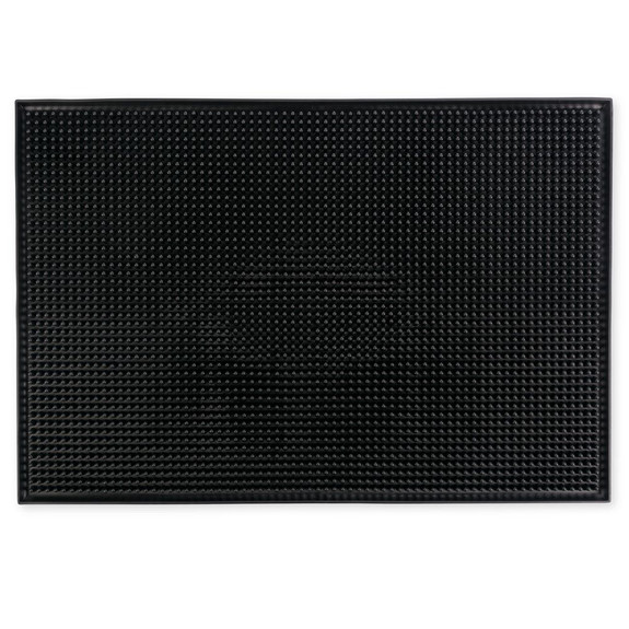 "Large Rubber Bar Service Spill Mat - 18"" x 12"" Black"
