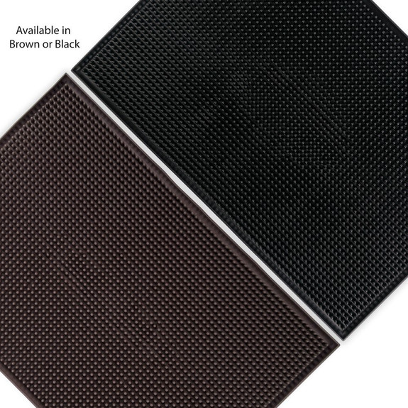 "Large Rubber Bar Service Spill Mat - 18"" x 12"" Brown or Black"