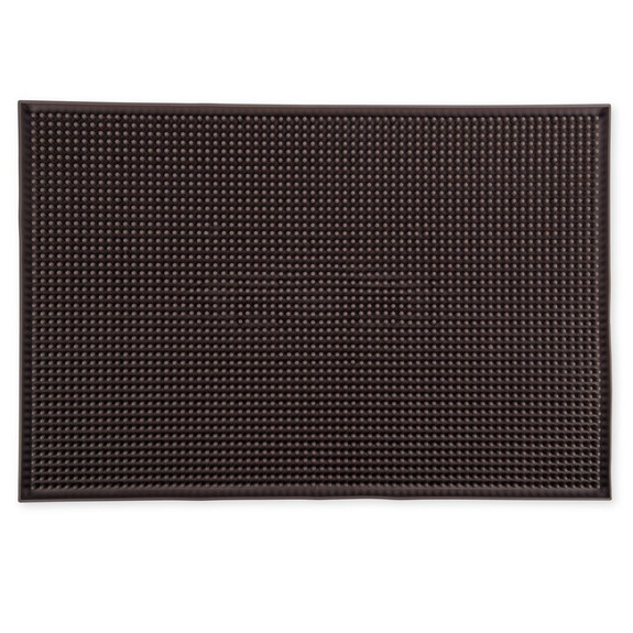 "Large Rubber Bar Service Spill Mat - 18"" x 12"" Brown"