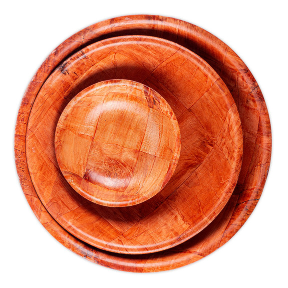 Round Woven Wood Snack / Salad Bowl