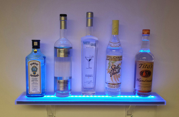 Wall Mounted LED Lighted Liquor Bottle Shelf