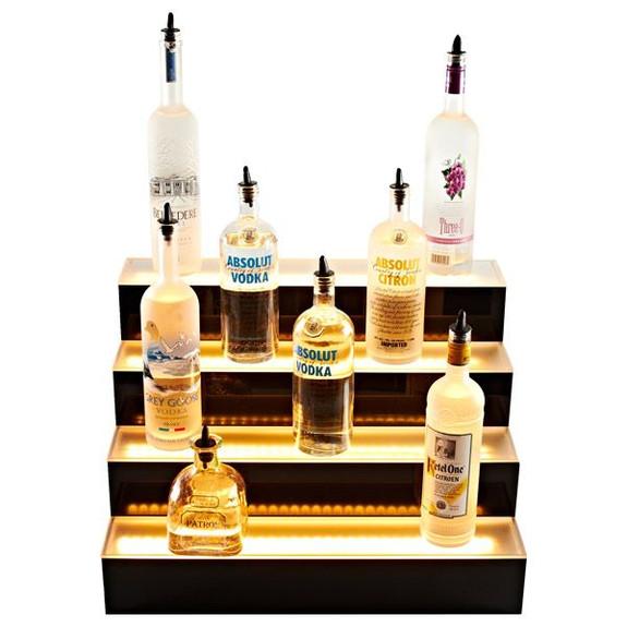 Four Tier LED Bottle Display Shelf Bottles Lights Off