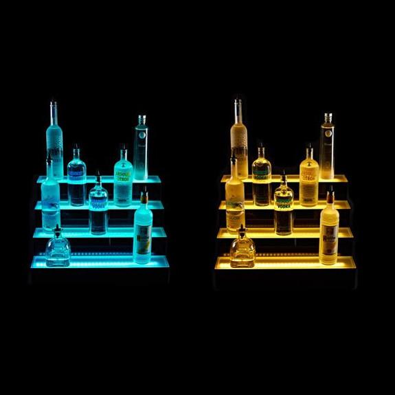 Four Tier LED Bottle Display Shelf Lights Off