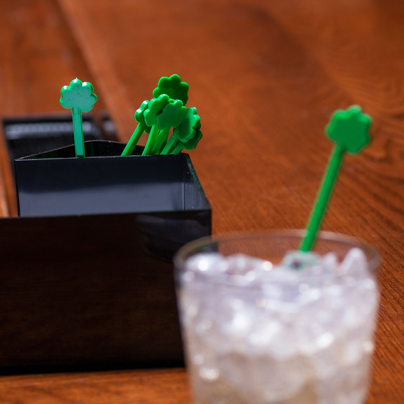 Green Shamrock Cocktail Stirrers