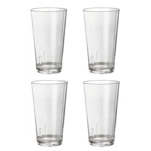 Acrylic Beer Pint Glasses - Set of 4 - Break Resistant - 16oz