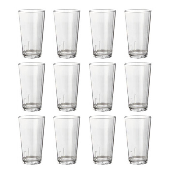 Acrylic Beer Pint Glasses - Set of 12 - Break Resistant - 16oz