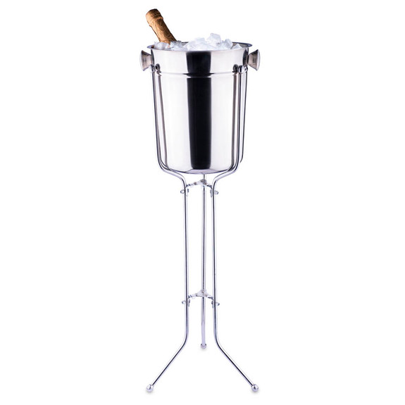 Champagne & Wine Bucket with Folding Stand - 8 Qt - Stainless Steel