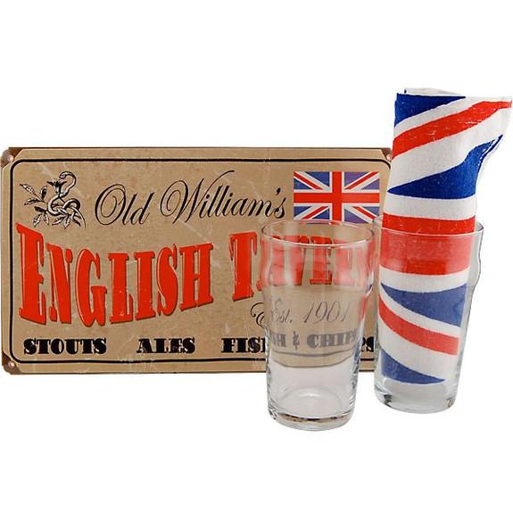 British Pub Tin Sign, UK Bar Towel and Pint Glasses