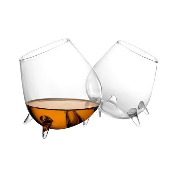 Final Touch Relax Footed Cognac Glasses - Set of 2