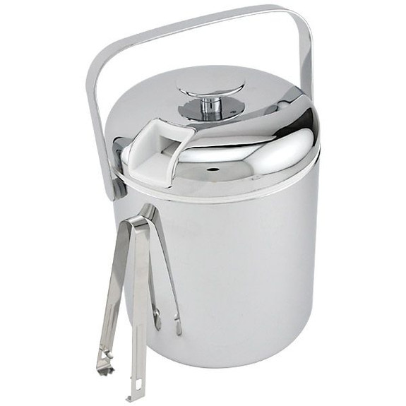 Double Walled Chrome Ice Bucket with Tongs - 44 oz