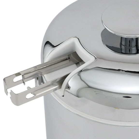 Double Walled Chrome Ice Bucket with Tongs Close Up