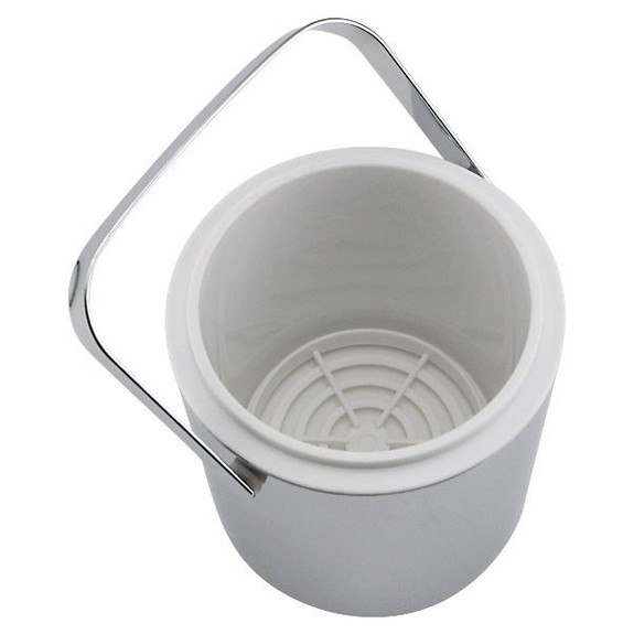 Double Walled Chrome Ice Bucket with Tongs Inside