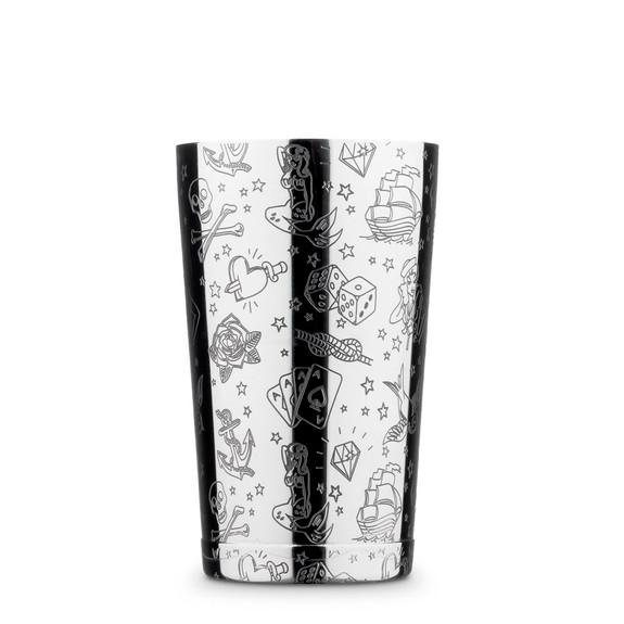 Urban Bar Tattoo Pattern Weighted Tall & Short Boston Shaker Tin Set - Stainless Steel