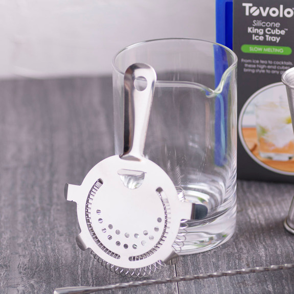 Strainer and mixing glass