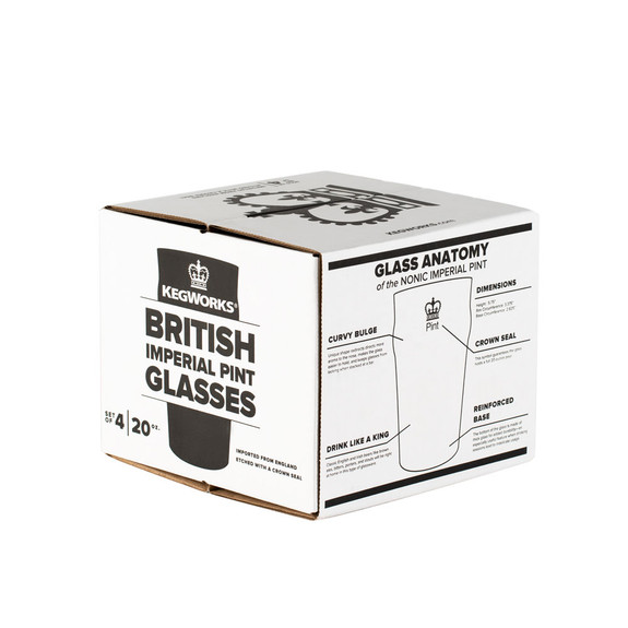 Authentic British Style Imperial Pint Glass with Etched Seal - Set of 4