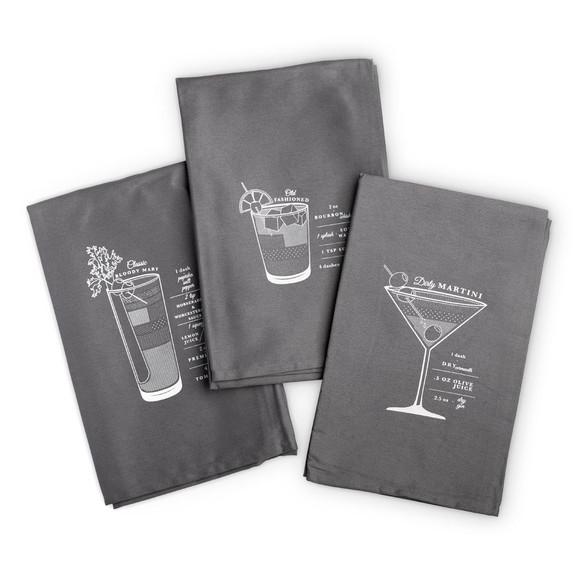 Viski Bar Cart Cocktail Bar Towels - Set of 3