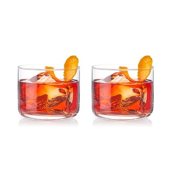 Viski Crystal Negroni Lowball Cocktail Glasses - Set of 2 - 8 oz