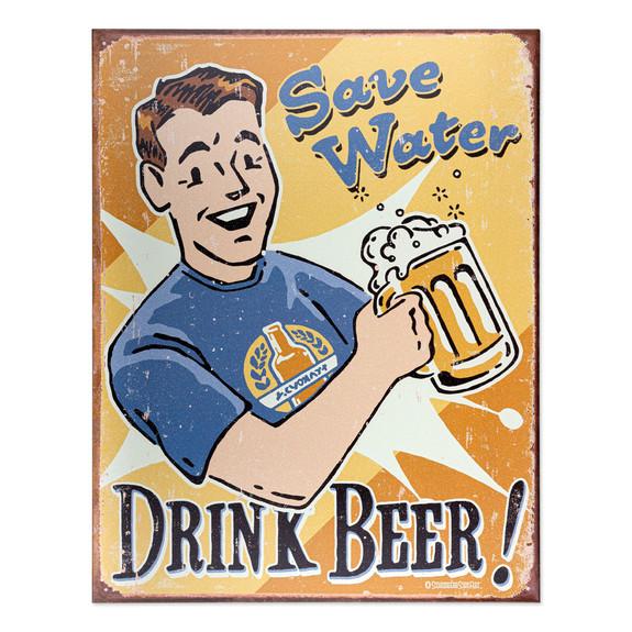Save Water Drink Beer Metal Bar Sign
